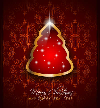 xmas background: Elegant Classic Christmas Greetings background with lovely tree ideal for flyers, invitations, cards or posters.