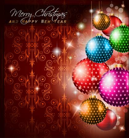 Elegant Classic Christmas Greetings background for flyers, invitations, cards or posters. New Baubleswith stars and Rainbow colours Vector