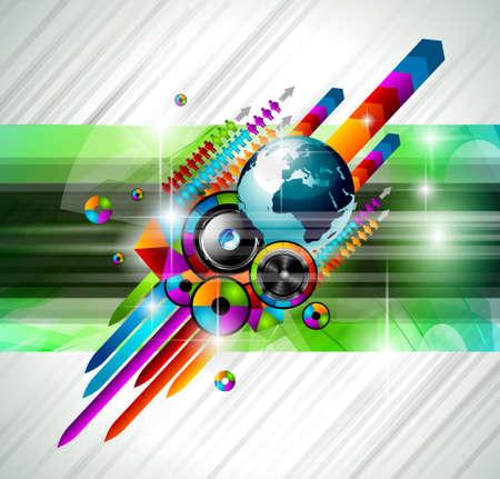 disk jockey: Alternative Musica Discoteca Flyer con i colori arcobaleno interessanti e un'esplosione di colurs e luci.