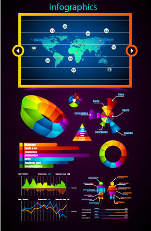 Premium infographics master collection: graphs, histograms, arrows, chart, 3D globe, icons and a lot of related design elements. Vector