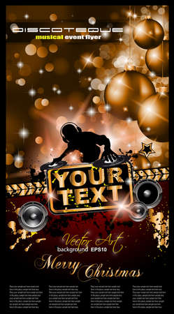 Christmas Party Event Background with Dj Shape and Fantastic Red Baubles and Glitters in the baclground. Ideal for music posters or depliant. Stock Vector - 11478912