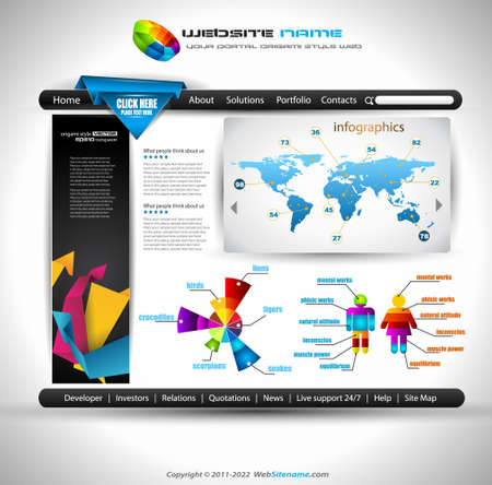 Origami Website - Elegant Design for Business Presentations. Template with a lot of design elements. Every Shadow is transparent Stock Vector - 11478907