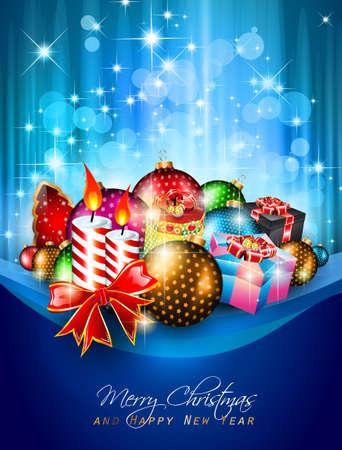 muerdago navideÃ?  Ã? Ã?±o: Elegante fondo de saludos de volantes o folletos para la Navidad o eventos de Año Nuevo con una gran cantidad de impresionantes bolas de colores.