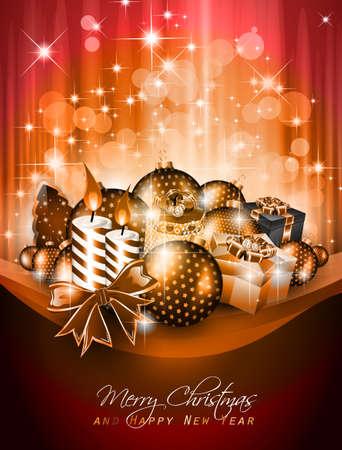 Elegante groeten achtergrond voor flyers of brochure van Kerstmis of Nieuwjaar Events met veel prachtige kleurrijke snuisterijen. Vector Illustratie