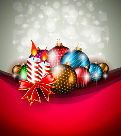 Elegant greetings background for flyers or brochure for Christmas or New Year Events with a lot of stunning Colorful baubles. Vector