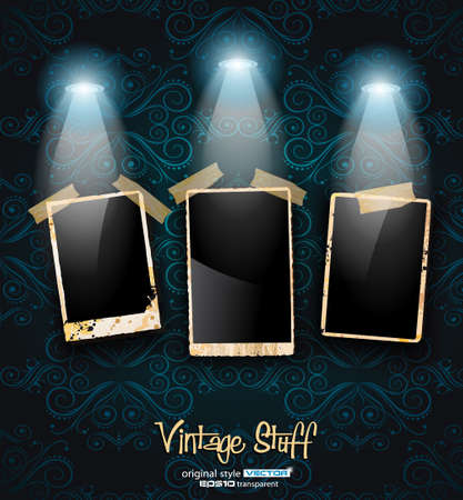 Antique distressed photoframes with vintage seamless wallpaper background and two spotlights. Vector