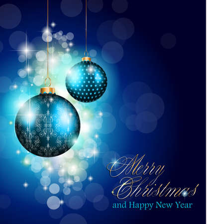stunning: Elegant greetings background for flyers or brochure for Christmas or New Year Events with a lot of stunning Colorful baubles. Illustration