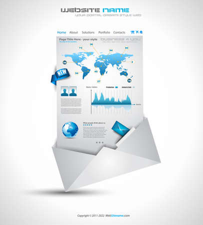 Complex Origami Website - Elegant Design for Business Presentations. Template with a lot of design elements. Every Shadow is transparent Stock Vector - 11478918