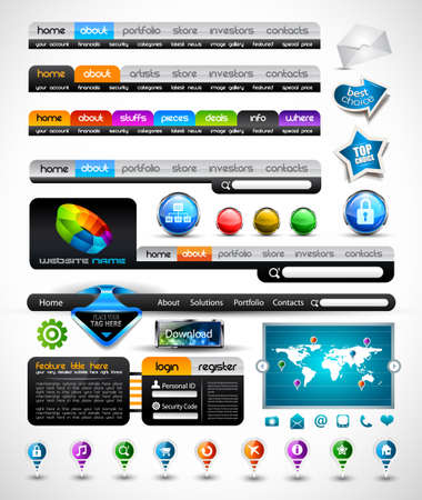 Premium Collection of modern style web headers, forms, icons, world map, glossy design elements and buttons Vector