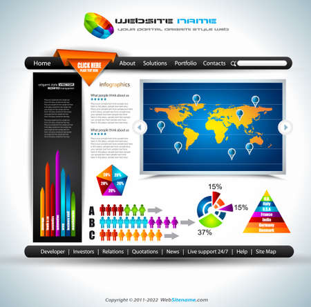 Complex Origami Website - Elegant Design for Business Presentations. Template with a lot of design elements. Every Shadow is transparent Stock Vector - 11481077