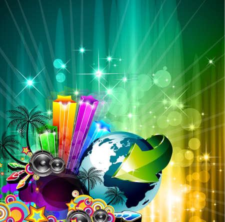 jockey: Cartel de fondo para el evento de la m�sica disco internacional con los colores del arco iris, los elementos abstractos de dise�o y un mont�n de estrellas! Vectores