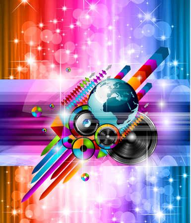 Cartel de fondo para el evento de música disco internacional con los colores del arco iris, los elementos abstractos de diseño y un montón de estrellas!