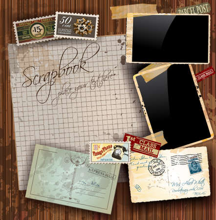 postcard back: Vintage scrapbook composition with old style distressed postage design elements and antique photo frames plus some post stickers. Background is wood. Illustration