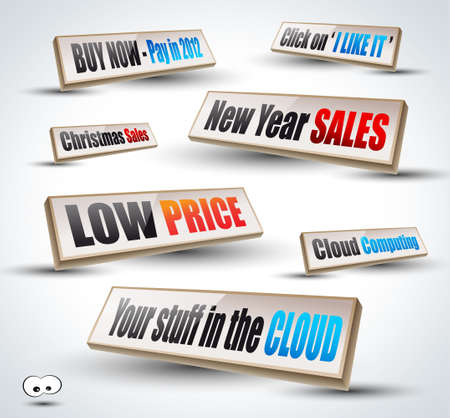Social shares, Christmas and New Year sales 3D Panels with Transparent Shadows and glossy reflection. Ready to copy and past on every surface. Stock Vector - 11675372