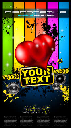 Valentines Day Disco Flyer with a party background, and glossy red hearts flying over the air. Vector