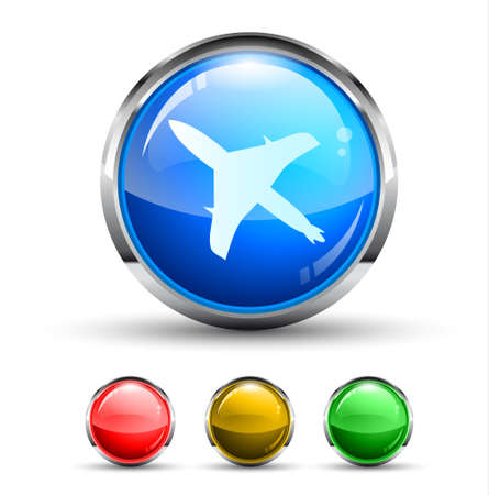 Airplane Cristal Glossy Button with light reflection and Cromed ring. 4 Colours included. Vector