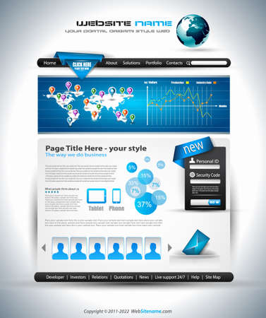 website: Complex Website Template - Elegant Design for Business Presentations. Template with a lot of design elements and infographics.