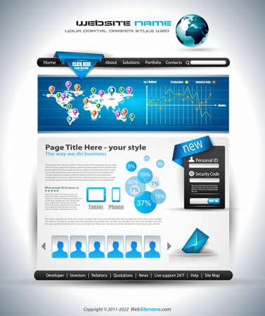 복잡한 웹 사이트 템플릿 - 사업 발표를위한 우아한 디자인입니다. 디자인 요소와 인포 그래픽의 많은 템플릿.