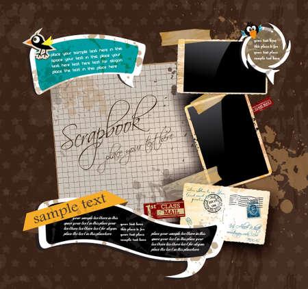grunge photo frame: Scrapbook composizione Vintage con i vecchi elementi di spedizione in difficolt� di design di stile e cornici antiche, pi� alcuni adesivi postali. Background � il legno.