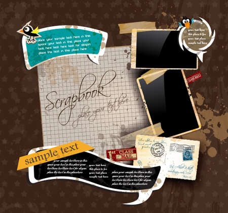 scrapbook elements: Vintage scrapbook composition with old style distressed postage design elements and antique photo frames plus some post stickers. Background is wood. Illustration