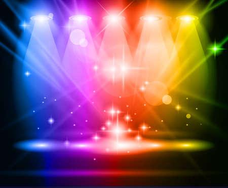 마법의: 매직 레인보우 광선 사람들 또는 제품 광고를위한 빛나는 효과 스포트라이트. 모든 빛과 그림자가 투명입니다.