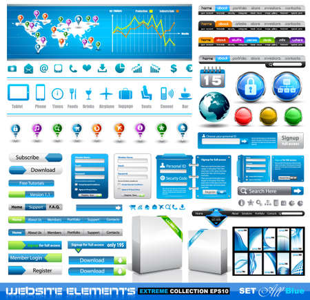 Premium infographics and Web stuff  master collection: graphs, histograms, arrows, chart, 3D globe, icons and a lot of related design elements. Vector