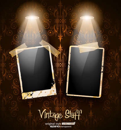 Antique distressed photoframes with old dirty look on a vintage seamless wallpaper. Frames are featured by led spotlights.Shadows are transparent. Vector