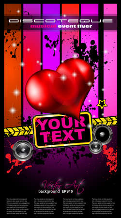 Valentine's Day Disco Flyer with a party background, and glossy red hearts flying over the air. Stock Vector - 12324043