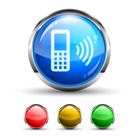 cellphone icon: Cellular Network Cristal Glossy Button with light reflection and Cromed ring. 4 Colours included.