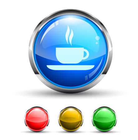 Coffee Bar Cristal Glossy Button with light reflection and Cromed ring. 4 Colours included. Vector