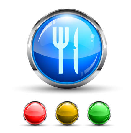 Restaurant Cristal Glossy Button with light reflection and Cromed ring. 4 Colours included. Vector