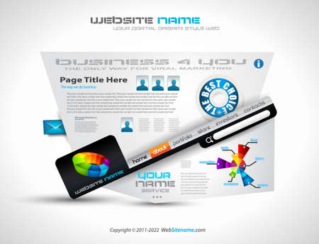 Complex Website Template - Elegant Design for Business Presentations. Template with a lot of design elements and infographics. Vector