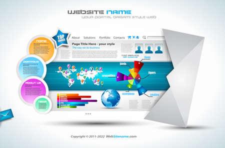 sjabloon: Complex Website Template - Elegant ontwerp voor professionele presentaties. Template met veel design elementen en infographics. Stock Illustratie