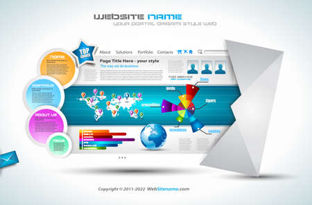 website: Komplexe Website Template - Elegantes Design f�r Business-Pr�sentationen. Vorlage mit vielen Design-Elementen und Infografiken.