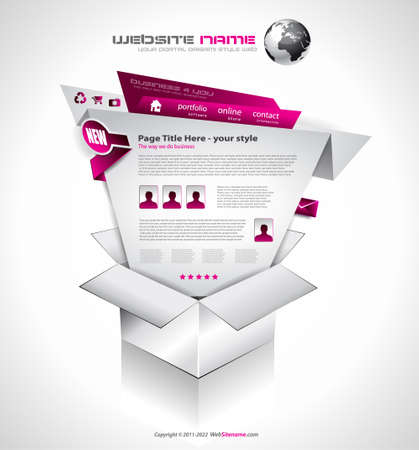 advertising template: Complex Website Template - Elegant Design for Business Presentations. Template with a lot of design elements and infographics.