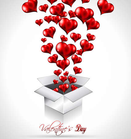 Valentine's Day Flyer with a glitter vintage background, and glossy red hearts flying over the air. Stock Vector - 12323976