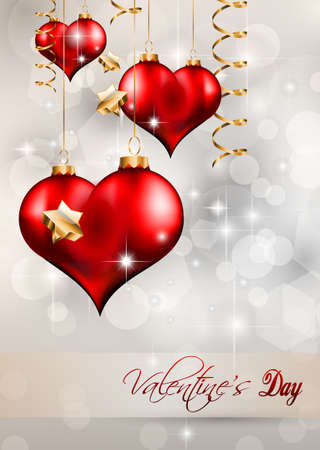 Valentines Day Flyer with a glitter vintage background, and glossy red hearts flying over the air. Vector