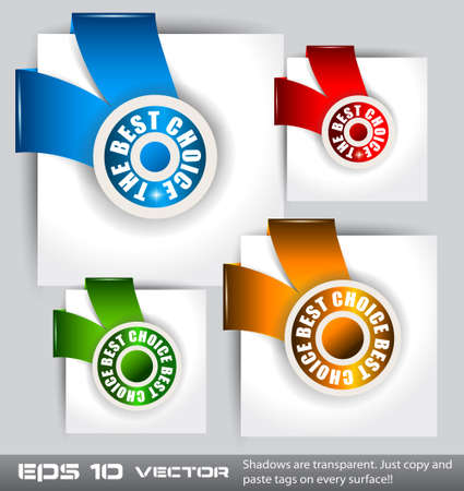 Paper Style TOP CHOICE tags with TRANSPARENT shadows. You can place it on every surface! Stock Vector - 12324061