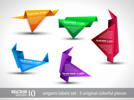 Origami triangle style speech Banner . All shadows are transparent, ready to copy and paste on every surface. Stock Vector - 12324062