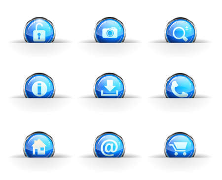 Set of nine glossy circular icons: locked, photo, search, info,download, phone, home, contact and cart icon. Vector