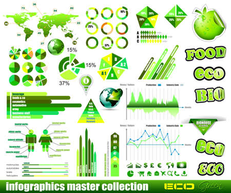 histograms: Premium Eco Green infographics master collection: graphs, histograms, arrows, chart, 3D globe, icons and a lot of related design elements.