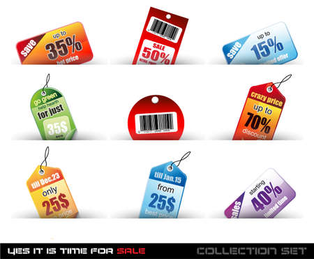 Yes its time to sale! Set o f 9 Sale Tags with a lot of diffent colours and shapes. Vector
