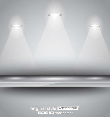 featured: Shelf with 3 LED spotlights with delicate look on a grey gradeientwallpaper. Shadows are transparent. Illustration