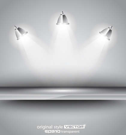 Shelf with 3 LED spotlights with delicate look on a grey gradeientwallpaper. Shadows are transparent. Vector