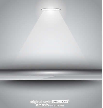 featured: Shelf with LED spotlight with delicate look on a grey gradeientwallpaper. Shadows are transparent.