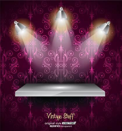 spotlights: Estante con 3 focos LED con aspecto viejo y sucio en un fondo de pantalla sin problemas de la vendimia. Las sombras son transparentes. Vectores