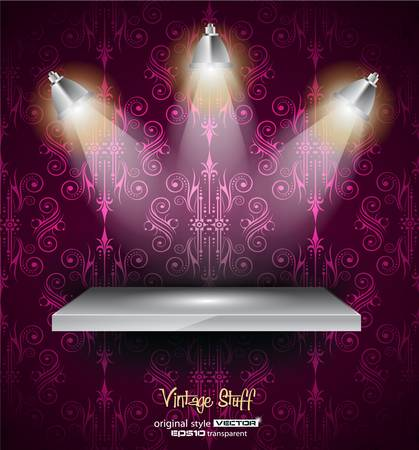 Shelf with 3 LED spotlights with old dirty look on a vintage seamless wallpaper. Shadows are transparent. Vector
