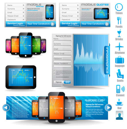 Premium templates and Web stuff  master collection: smartphones, tablets, chart, infographics, icons and a lot of related design elements. Stock Vector - 12495233