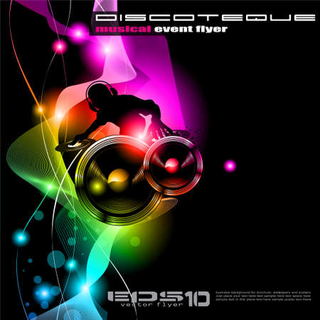 Poster Background for music international disco event with rainbow colours, abstract design elements and a lot of stars! Vector