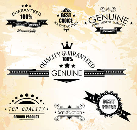 procent: Premium Quality Labels - Collection of retro bi-colours vintage labels with several slogans: Best Choice, Premium Quality, Top Choice and so on. Illustration